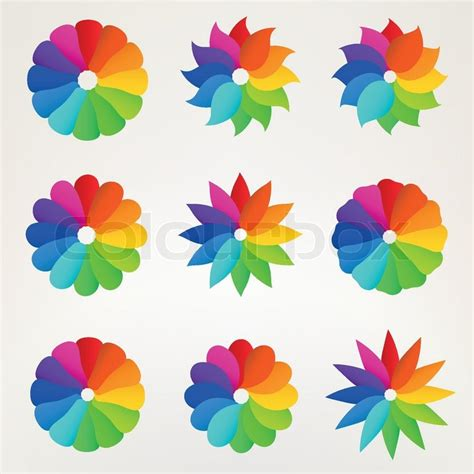 design flower game nine rainbow colored flower silhouette set of design