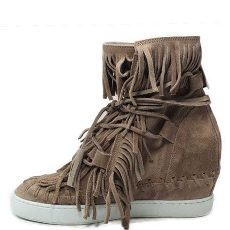 stivaletti con zeppa interna stivaletti scarpe zeppa interna donna camoscio frange fango