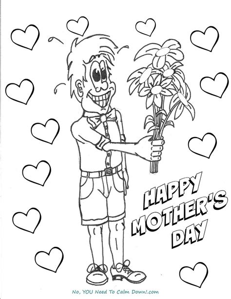 colors free printables no you need to calm down boy with flowers mother s day coloring page free
