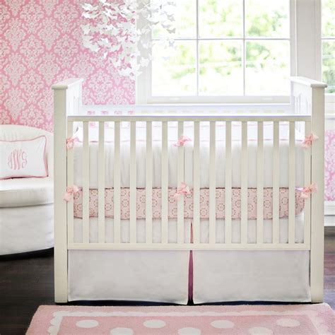 baby bedding for girls white pique crib bedding in pink by new arrivals inc