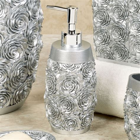 rose bathroom decor just roses silver bath accessories