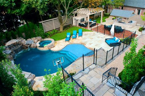 Backyard With A Pool A Backyard Pool Oasis Traditional Pool Toronto By Gib San Pools Ltd