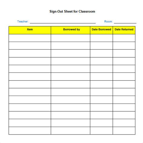 key sign out form template sle sign out sheet template 8 free documents