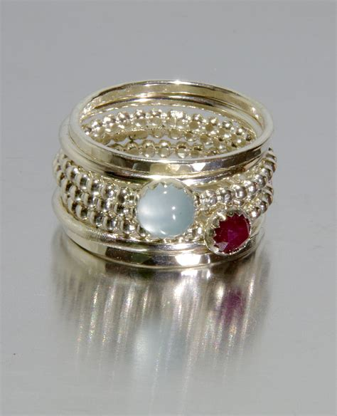 aquamarine ruby stacking mothers rings personalized