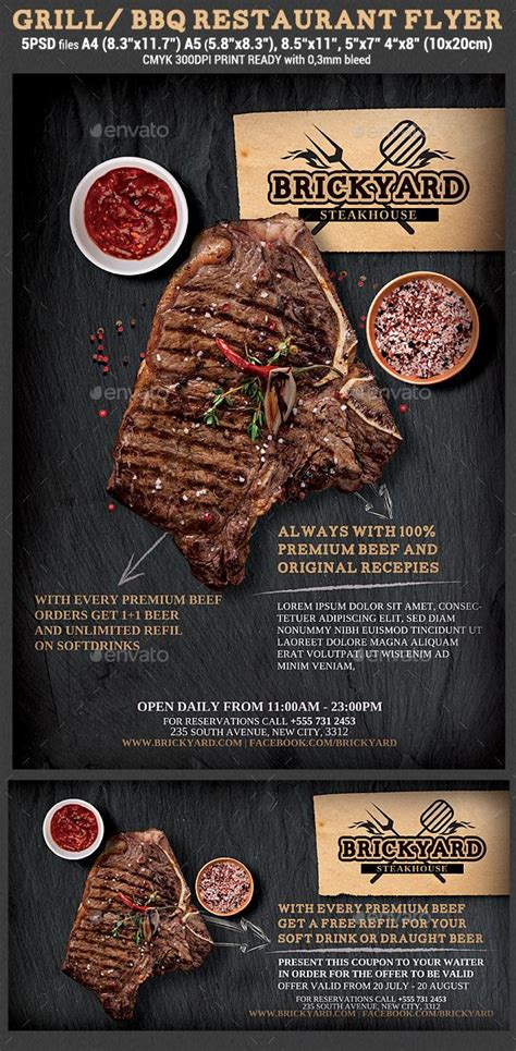 grill steak restaurant flyer template grilled steaks