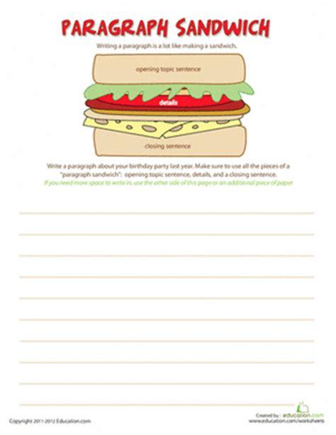 writing a paragraph worksheet worksheets education