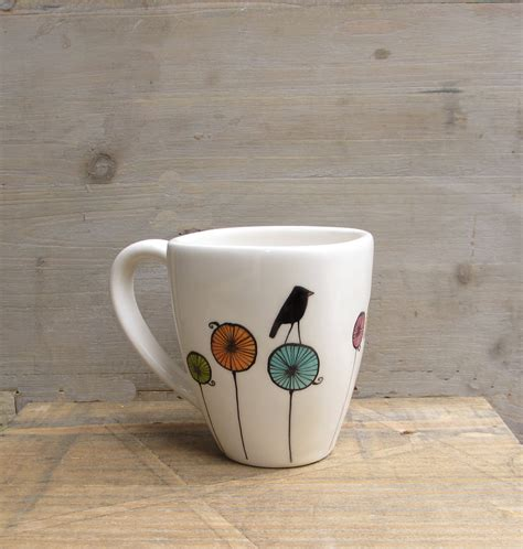 bird ceramic coffee cup mug gift for the bird by