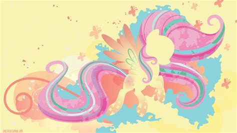 Rainbow Power Fluttershy Silhouette Wall by SambaNeko on