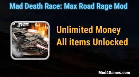 mod game unlimited money mad death race max road rage hacked game mod apk free