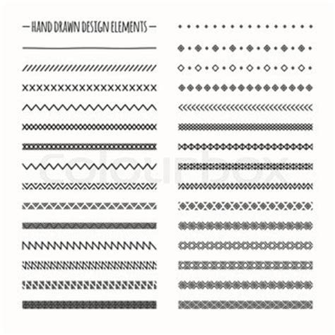 brush easy pattern hand drawn vector line border set and scribble design