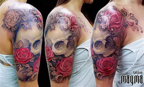 half skull half rose tattoo best skull flowers tattoos arm 5375917 171 top