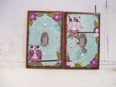 Decoupage Switch Plates - owl theme for baby on owl nursery light