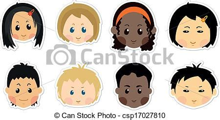 Funny kids icons. Face character, boys, girls, child baby ... Happy Valentines Day Clip Art Children