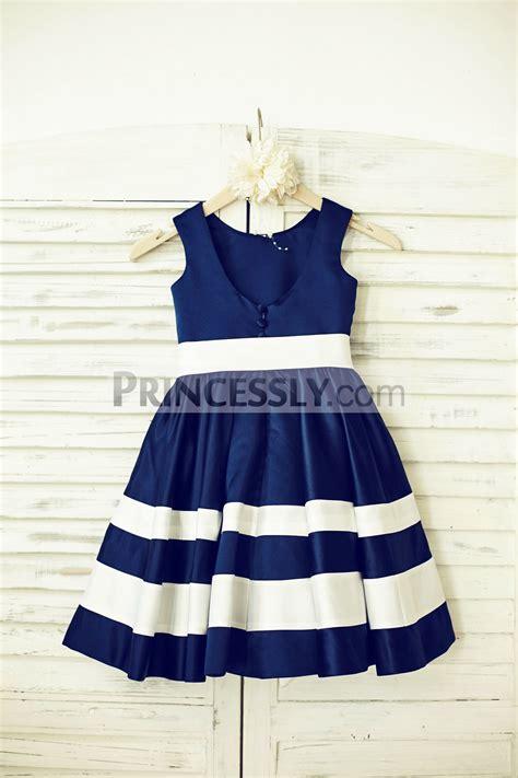 Flower Stripe Shirt Dress Af 069 navy blue satin ivory stripe flower dress