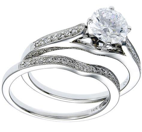 white gold ring band wedding set