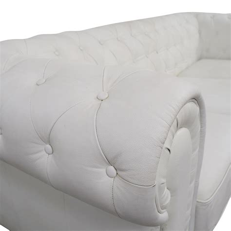 second hand white leather sofa 89 off chesterfield white tufted leather sofa sofas