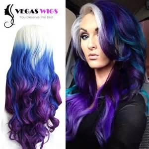 3 tone hair color vegaswigs fashion ombre rainbow three color blue