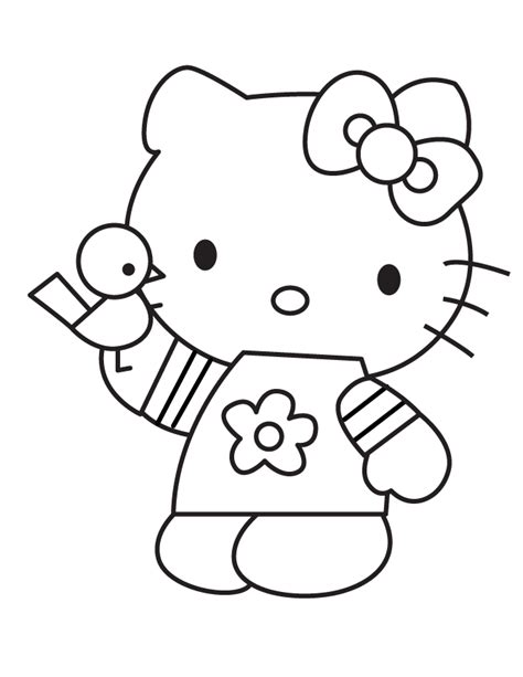 printable coloring pages cartoon cartoon hello kitty holding bird coloring page h m