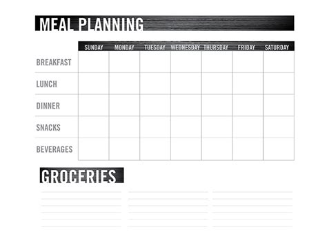 free microsite templates image gallery meal planning chart
