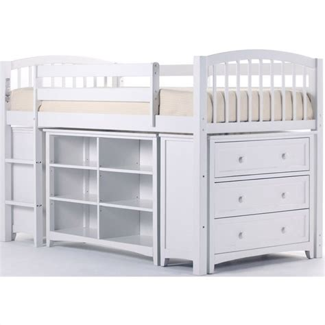 Loft Bed Junior Ne School House Storage Junior Loft In White 7060njl