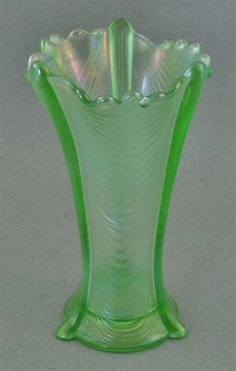 Green Carnival Glass Vase by Beautiful Northwood Drapery Green Carnival Glass Vase