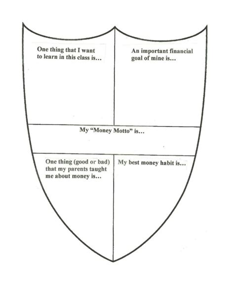 Coat Of Arms Activity Personal Finance Class Personal Coat Of Arms Template