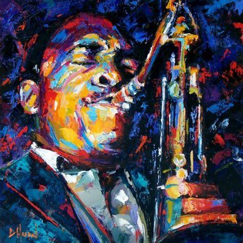 Jazz Artists Biography   john coltrane jazz saxophone art painting music painting