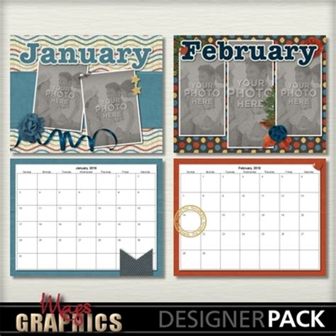 scrapbook calendar template digital scrapbooking kits 2016 generic calendar template