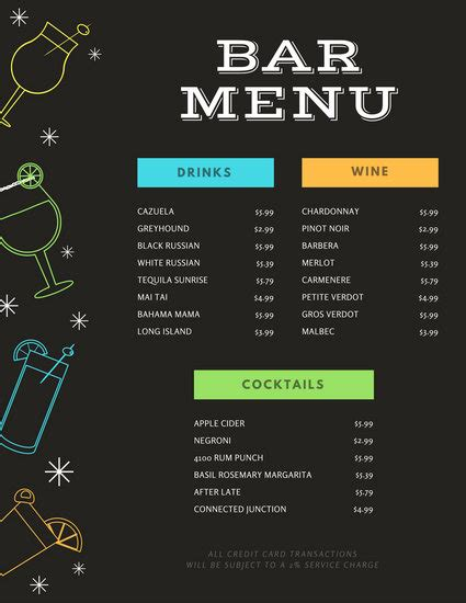 html menu bar templates free black with colourful drink icons bar menu templates by canva