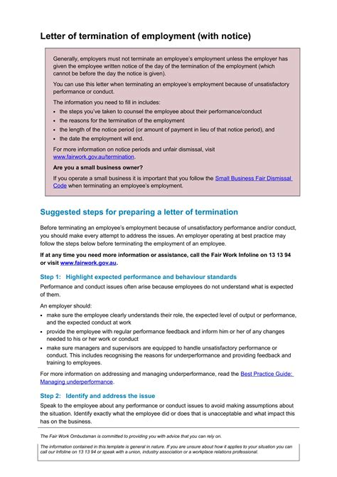 examples  employee termination letter template