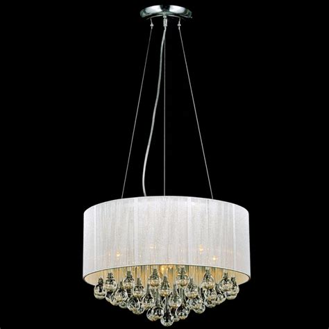 "Brizzo Lighting Stores. 18"" Gocce Modern String Drum Shade Crystal Round Chandelier Polished"