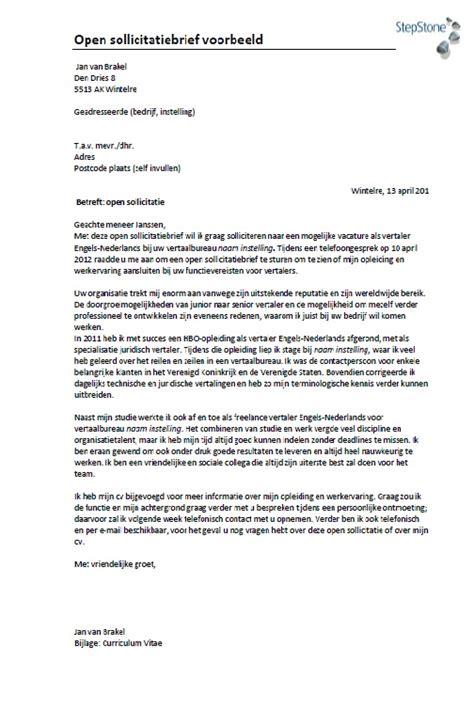 layout vertaling nederlands voorbeeld sollicitatiebrief zorg