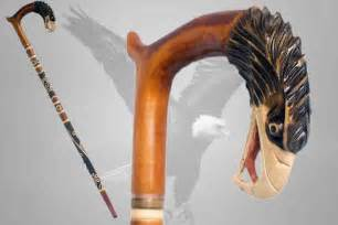 Handmade Canes Wooden - hawk walking stick hiking carved wooden falcon eagle