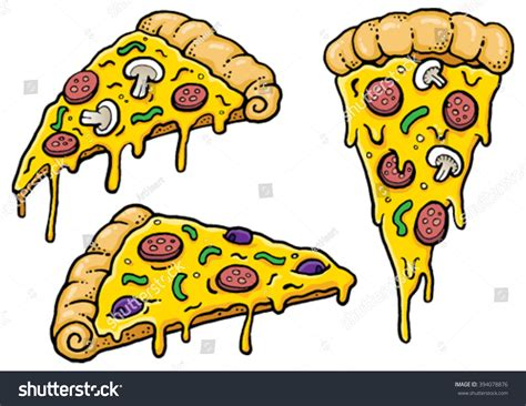 Cartoon Pizza Slices Dripping Cheese Vector Stock Vector