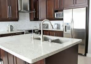 Kitchen Faucets For Granite Countertops by Medium Brown Cabinets With White Quartz Countertop