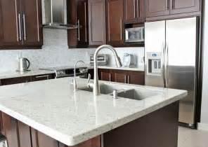 Kitchen Faucets For Granite Countertops Medium Brown Cabinets With White Quartz Countertop