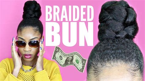 kankelon hair bun style braided bun with kanekalon hair natural hair protective