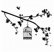 Bird Cage Hanging At The Edge Of Branch Coloring Pages