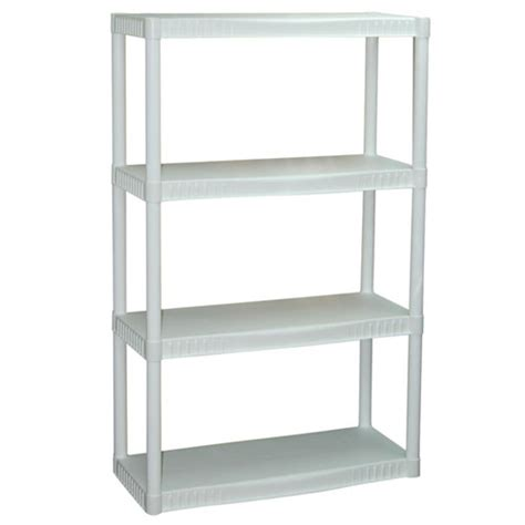 Plano 4 Shelf Storage Unit White Walmart Com Shelving Units Walmart