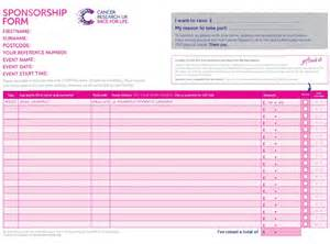 Sponsored Run Form Template by Return Your Sponsorship Race For Cancer Research Uk
