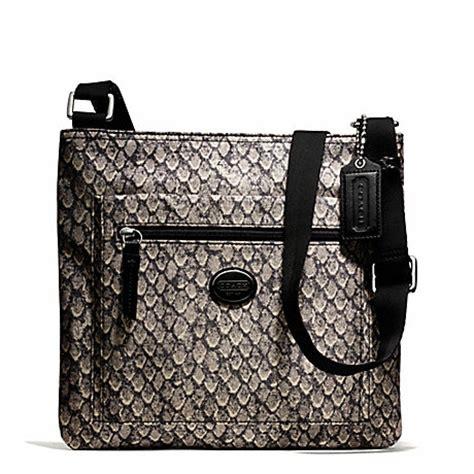 Coach Keisey Snake Embosed coach f77481 getaway snake print file bag silver