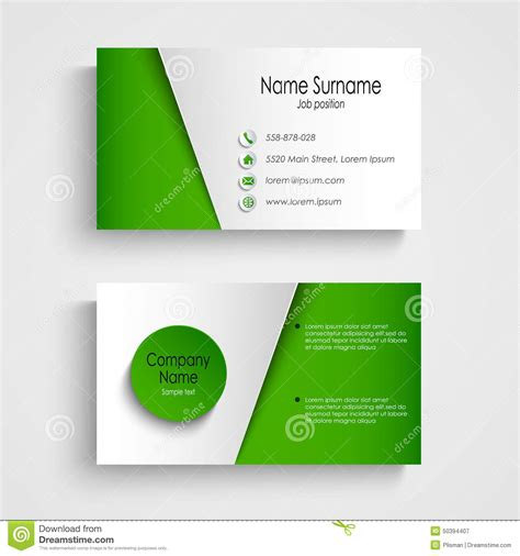 green card template modern light green business card template stock vector
