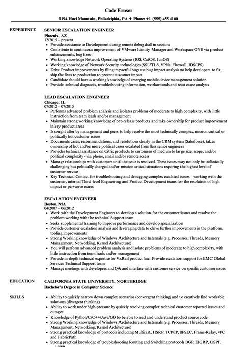escalation engineer resume sles velvet