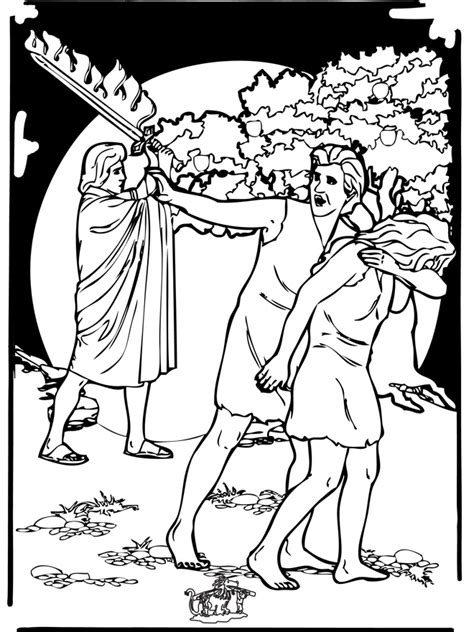 coloring page adam and eve sin adam and eve expelled from the garden of eden bible