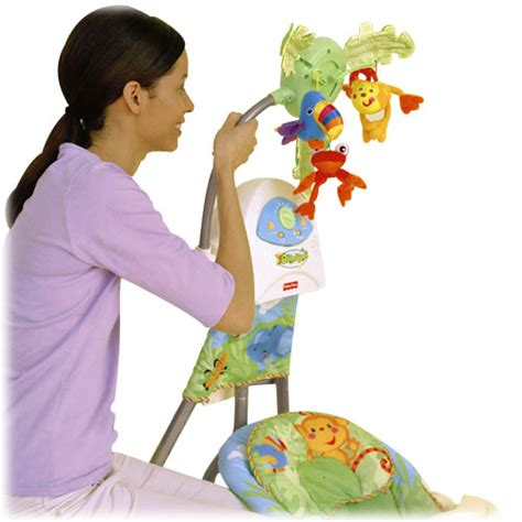fisher price rainforest swing away mobile fisher price rainforest open top cradle swing plug in ebay