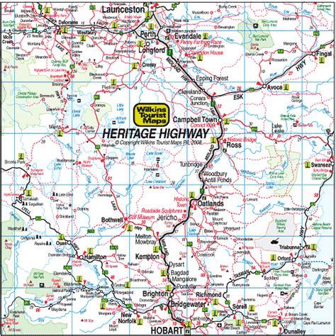 printable road map of tasmania heritage highway tour route tasmania