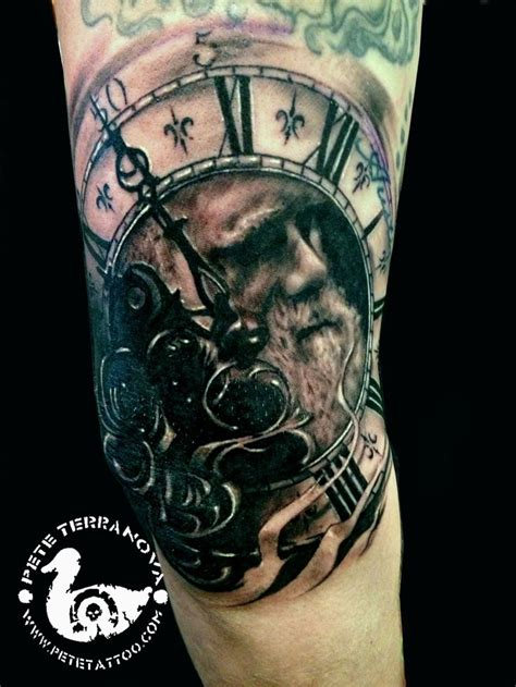 father time tattoo time needle