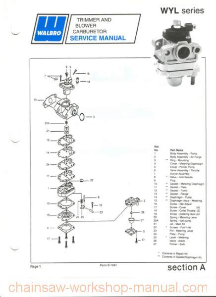 walbro wyl carburetor diagrams walbro wyl carburetor manual chainsaw workshop manuals