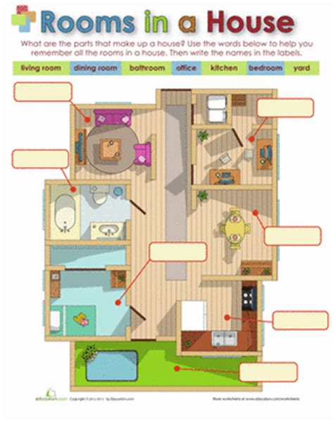 2nd Floor Plans by Rooms In A House Worksheet Education Com