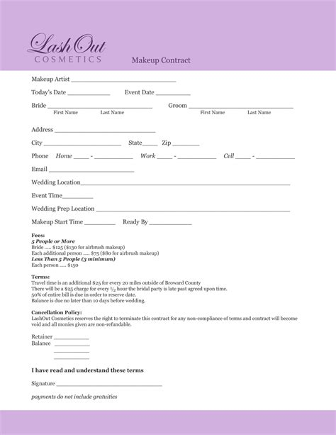Agreement Letter Sle For Contract Sle Wedding Contract For Hair And Makeup Saubhaya Makeup